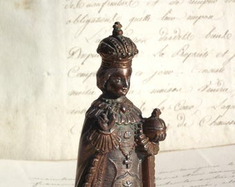 Vintage metal statue of the Infant Jesus of Prague, holy Child, Religious art, Victory Church, Religion.