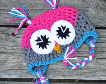 Crochet Owl Hat/ 0-3 months/Baby/ Handmade/ Ready to Ship/ Pink/Blue/White/Grey/ Photo Prop/ Great Gift!!!