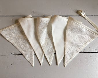 Cream lace wedding bunting - handmade and double sided providing a quality and long lasting purchase