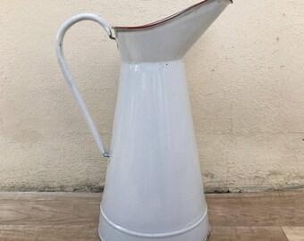 Vintage French Enamel pitcher jug water enameled white 0510176