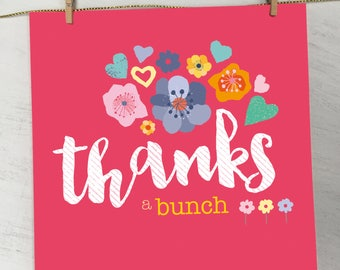 Floral Thank You Card, Female Thank You Card, Thank You Card for Her, Colourful Thank You Card, Botanical Thank You Card, Modern Thank You
