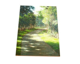 oil painting // sunlight on forest path // artistic work of art // hand-painted contemporary impressionism monet art
