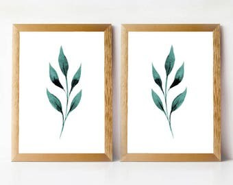 Nature Print Set PRINTABLE Wall Art | Leaf Print Set of 2 | Bedroom Prints | Bathroom Wall Art Set | Leaves Print Set 11x14 8x10 5x7 Prints