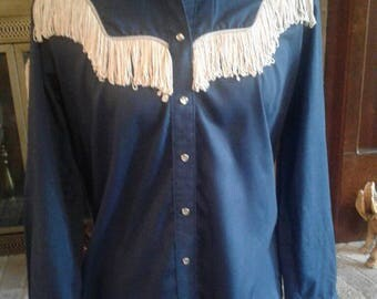Vintage Womens Rockmount Ranch Wear Western Shirt Fringed Tru-West Made in U.S.A Custom Fitted Music City Cowboy Shirt Woman's Size 38