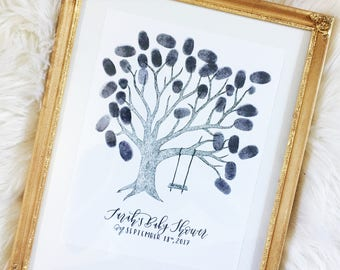 Customizable Thumbprint Tree Guest Book | Guest Book | Wedding GuestBook | Baby Shower Guest Book