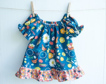 """Girls Bird Peasant Top-Hens Riding Bikes-Ruffled Peasant Blouse-Blend Fabric's """"Garden Roost"""" Collection-Chickens & Owls-Toddler Peasant Top"""