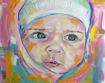 Baby Oil Portrait Custom Portrait On Canvas Abstract Portrait Pop Art Portrait Oil Painting Portrait Wall Art Canvas Girls Portrait To Order