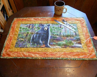 """Black Bear/Fall/Autumn Outdoor/Rustic Table Runner or Wall Hanging 16"""" x 26"""""""