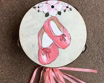 Hand painted tambourine / pandero with ballerina shoes and floral design for worship