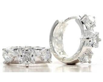 Genuine princess hoop silver earrings, Hallmarked sterling silver, Princess square gemstones, 925 Sterling white gemstones, Black gift box