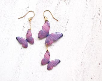 Light Purple Butterfly 14K Gold Filled Asymmetrical Earrings [Pierced or Clip-on]