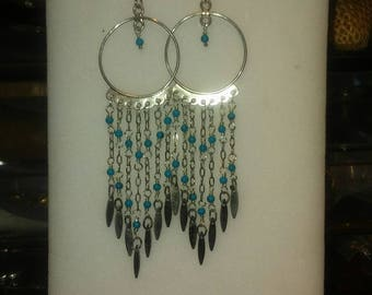 Sterling Silver .925 Hoop-Chandeliere Earrings with Tuquoise Beads. Fringy, Boho Style Earrings.