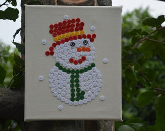 Handmade buttons snowman,buttons picture,Christmas gift,