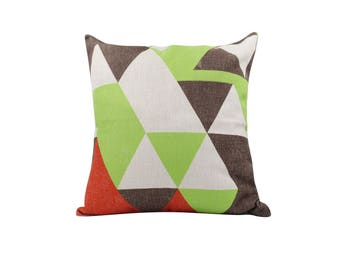 Geometric decorative pillow covers Rustic throw pillow covers Linen pillow cases Mosaic cushion cover Sofa accent pillows Home decor 18x18