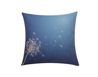 White dandelion throw pillow covers Small dandelion decorative pillow case Blue cushion cover Dandelion accent pillow Sofa home decor 18x18