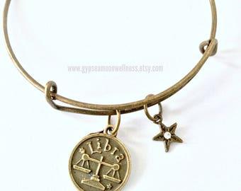 Charming Libra Zodiac Bronze Adjustable Bangle Charm Bracelet Double Sided Astrology Charm Star Signs Handmade Jewelry Free Shipping
