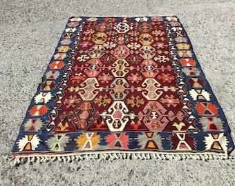 "OUSHAK Lantern Kilim Rug,Hand Made Wool Vintage Rug,Kilim,Carpet Rug ,Turkish Kilim Rug ,Anatolian Kelim,69.5""x104"" inches,176x264 cm """