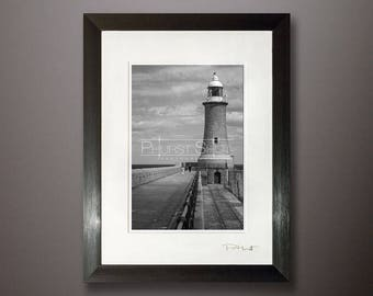 North pier lighthouse Tynemouth, framed Seascape print, Black white print, Lighthouse photo, fine art image, North East Seascape