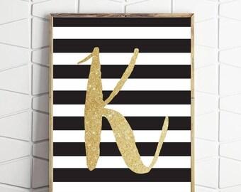70% OFF SALE K initial art print, letter K initial, black letter art, gold letter art, black letter print, letter K art, black and white art