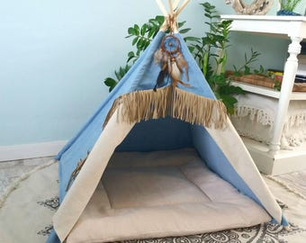 Pet teepee with fringe denim including soft ribbed pillow. Dog house cat & Dog teepee | Etsy