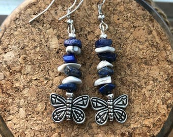 Lapis and Howlite earrings with butterfly charm