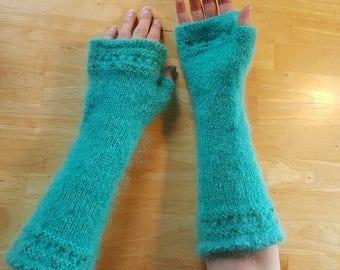 Long, beaded fingerless gloves