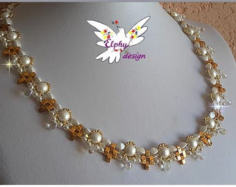 Necklace swarovski crystal and plated gold SIRIUS white mother of Pearl and gold