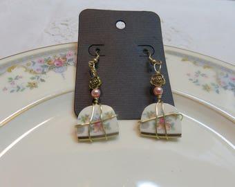 Broken China Earrings - Juliet Royal Dalton Pattern