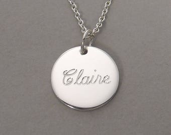 """Engraved name necklace sterling silver children's name pendant kid's name jewelry personalized name charm round circle disc 1/2"""" SSLCS"""
