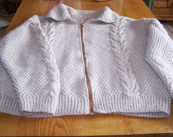 ecru color hand knitted men Cardigan