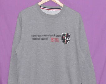 Vintage FILA Biella Italia Grey Sweatshirt Crewneck Sweater Medium Size