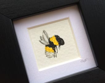 Miniature bee painting - watercolour and pen