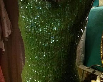 60s lime green shimmering sequin stretch top tank evening wear