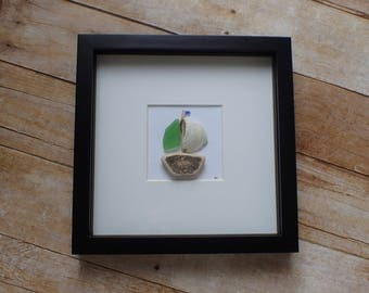 Nova Scotia sea glass / Boating gifts / Boat seaglass / Sea glass art picture / Boat art / Nautical artwork / Ocean art / Sailboat art decor