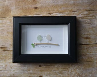 Sea glass love birds art picture / Beach art / Valentines day gift idea / Engagement gift idea / Wedding gift for couple / Anniversary gift