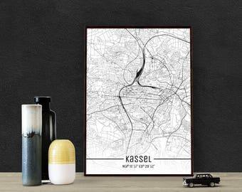 Kassel-Just a map-din A4/A3-Print