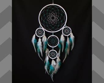 Dreamcatcher large , Dream catcher turquoise , Dream catcher white, indian talisman, bedroom decor, white dream catcher