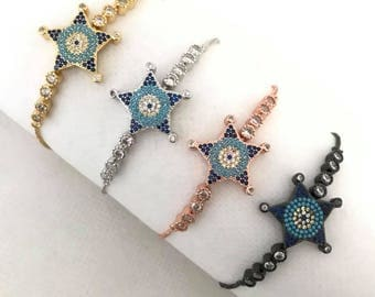 free shipping-Fashion Star Shape CZ Micro Pave Turquoise bracelet Chain Bracelet Connectors/Links Crystal Zircon/bracelet adjustable Jewelry
