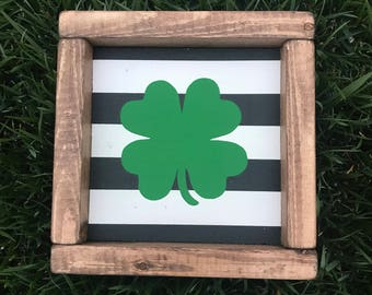 Shamrock striped st Patrick's day wood sign - shamrock sign - st Patrick's day home decor