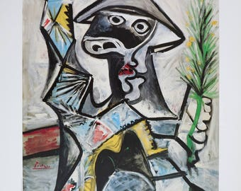 Pablo Picasso exhibition poster - Arlequin - Gallery Krikhaar FIAC 1987 Amsterdam - museum print - offset litho - 1987 - excellent