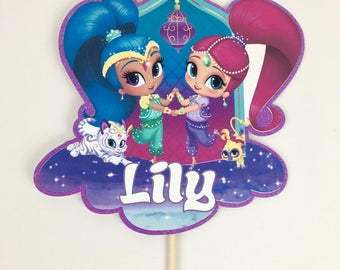 Personalized Shimmer and Shine Cake Topper