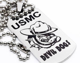 Dog Tag, Military Style Dog Tag, Stainless Steel Dog Tag, Jewelry Dog Tag, Personalized Dog Tag, Military Style Jewelry, Devil Dogs