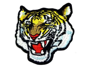 Tiger Head Patch, Tiger Iron on Patch, Tiger Head Iron on Patch, Tiger Patches, Tiger Appliqué - H1169