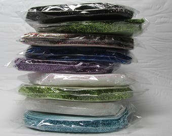 "Velvet Ribbon 3/8"" wide sparkly solid colours sold in a 5 yard package"