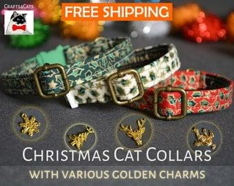 Christmas cat kitten collar 'Holly Night' with golden charm breakaway cat collar - luxury cat kitten collar Christmas kitten gift