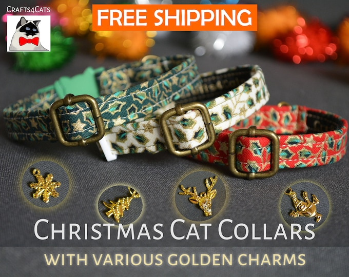 Featured listing image: Christmas cat kitten collar 'Holly Night' with golden charm breakaway cat collar - luxury cat kitten collar Christmas kitten gift