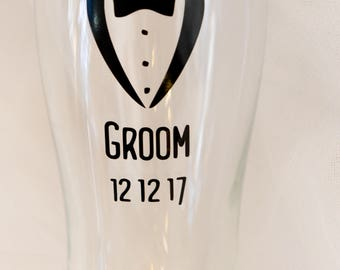 Grooms, Bestman, Usher, Groomsman, Father of Bride, Father of Groom, personalised Pint Glass