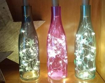 Lichtflasche Flaschenlicht Sterne von Frollein KarLa