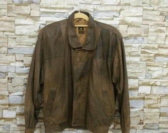 80's Vintage Golden Brown Leather Flight Jacket Deerskin Cowboy Western Motorcycle Jacket Made in New Zealand Small