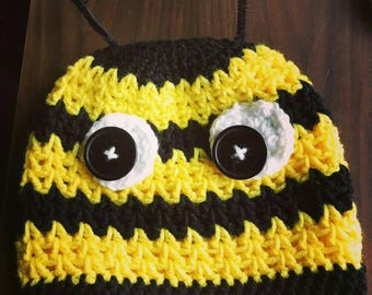 Crochet Hat- Winter Hat- Bumblee Bee- Bee Hat- Winter Beanie- Bumble Bee- Kids Hats- Christmas Gifts- Animal Hats- Knit Hat- Kids Knit Hat